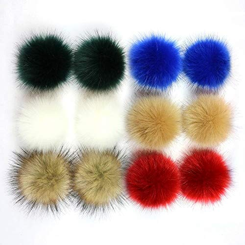 Freyamall 12 Pcs Faux Fox Fur Fluffy Pompom Ball for DIY Beanies Knitting Hats Scarves Bags Shoes Charms Accessories, Mixed Color-SS-SZ-10 from Freyamall