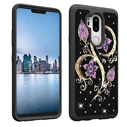 Plastic Case Bling Hard (NVWA Compatible LG G7 ThinQ Case,LG G7 Case [Heavy Duty] Tough Dual Layer 2 in 1 Rugged Rubber Hybrid Hard Plastic Soft TPU Back Protective Cover Coloured Drawing with Bling Crystal - Peacock Floral)