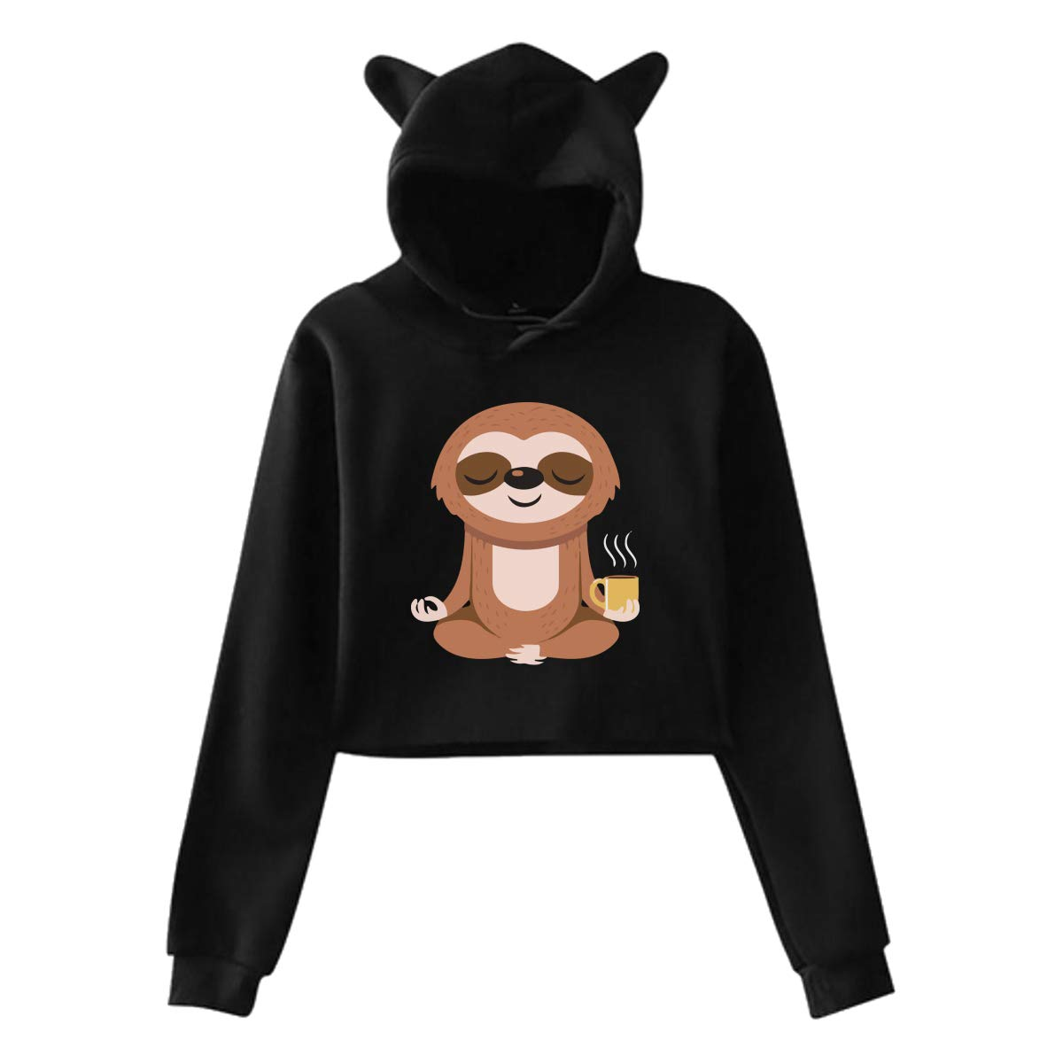 Yoga Sloth Womens Exposed Navel Cat Ear Hoodie Pullover Tops Blouse