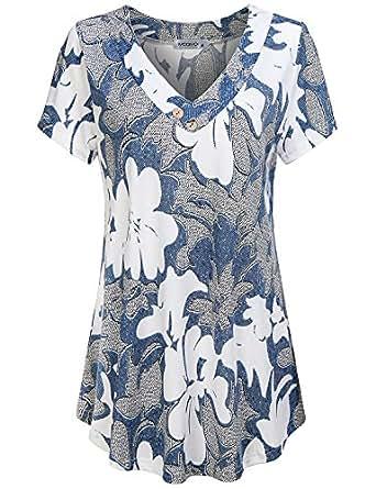 MOQIVGI Flowy Shirt, Ladies Basic Simple Leisure Style Knitting Trapeze Tops Lounging Pattern Short Sleeve V Neck Pretty Loose Shirt Flower Blouses for Women Fashion 2018 Multicoloured Blue Medium