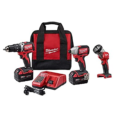 Milwaukee 2799-23 M18 18-Volt Brushless Lithium-Ion Cordless Hammer Drill/Impact Driver/Worklight Kit