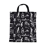 ammoon Cartoon Muscial Instruments Patterns Washable Cotton Cloth Handbag Music Tote Shoulder Grocery Shopping Bag for Students Girls