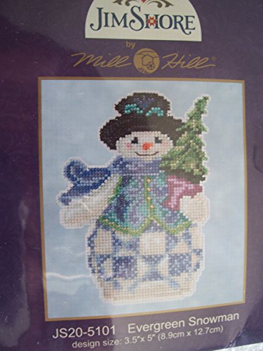 Jim Shore Evergreen Snowman Counted Cross Stitch Kit-5x5 18 - Items Jim