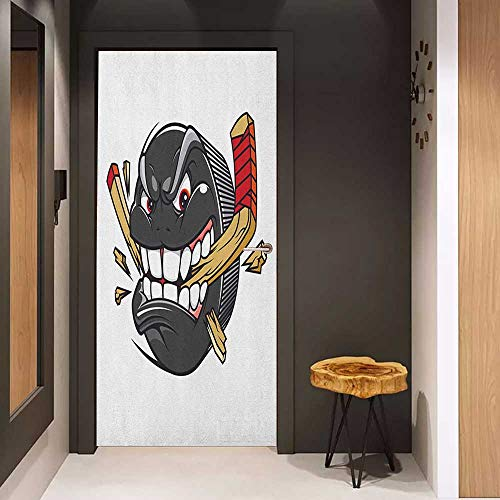 Onefzc Soliciting Sticker for Door Hockey Cartoon Hockey Puck Bites and Breaks Hockey Stick Championship Game Mascot Character Mural Wallpaper W31 x H79 Multicolor