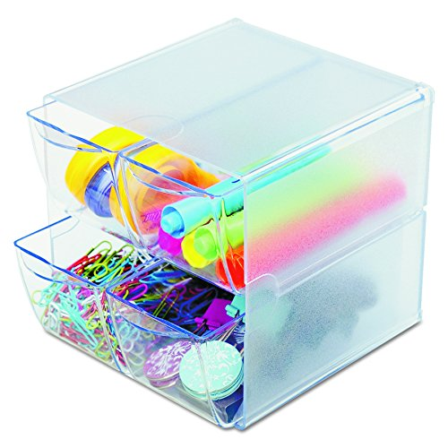 Deflecto Stackable Cube Organizer, Desk and Craft Organizer, 4 Drawers, Clear, Removable Drawers and Dividers, 6