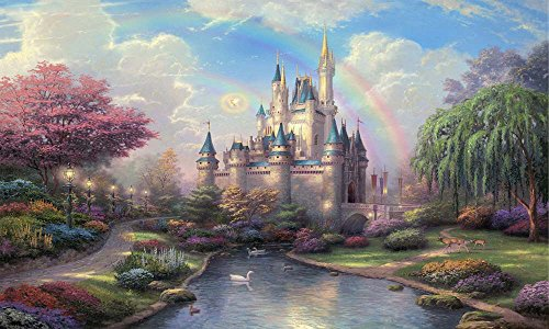 High Definition Fantasy Landscapes Canvas Print Unframed Tablet – 48 X 28 inch (120 by 70 cm)-Cinderella Castle – Giclee Picture Artwork Wall Decor for Living Room by Neron Art (Castle Canvas Mural)
