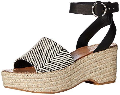 (Dolce Vita Women's Lesly Wedge Sandal, Black/White Fabric, 9.5 M US)