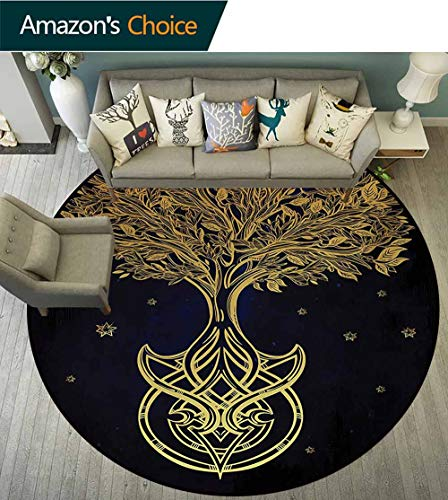 RUGSMAT Tree of Life Super Soft Circle Rugs for Girls,Romantic Plant Night with Stars in Sky Baroque Mystic Tribal Symbol Circular Area Rugs for Kids Bedroom,Round-55 Inch Dark Blue Yellow