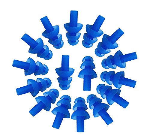 8PAIRS(16PCS) BeautyMood Silicone Earplugs soft Ear plugs Swimmers Flexible Ear Plugs for Swimming, Earplugs Will Reduce Noise When Sleeping, Made Of Soft Silicone To Be Comfortable.(Blue)