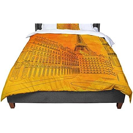 KESS InHouse Fotios Pavlopoulos Parisian Sunsets Orange City King Cal King Comforter 104 X 88