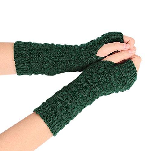Fingerless Gloves Wrist Warmers (Naovio Women Fingerless Knit Arm Gloves Wrist Warmer Winter Mitten for Writing,Green)