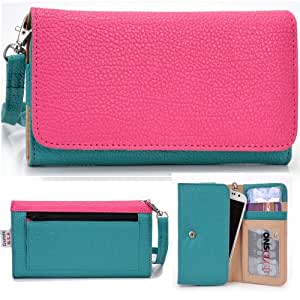 EXXIST® Classic Metro Series. Patent Leather Wallet / Clutch for Huawei Ascend G525 (Color: Magenta / Aqua Green) -ESMLMTGM
