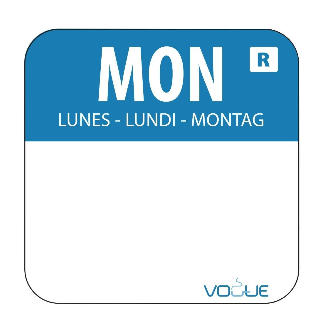 Removable Food Rotation Label Monday Monday - Blue. 1000 labels per roll