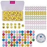 SUNNYCLUE 1 Set 221pcs Emoji Smile Emoticons Face Ball Beads Bracelet Craft Kit - DIY Makes 7 Emoji Bracelets