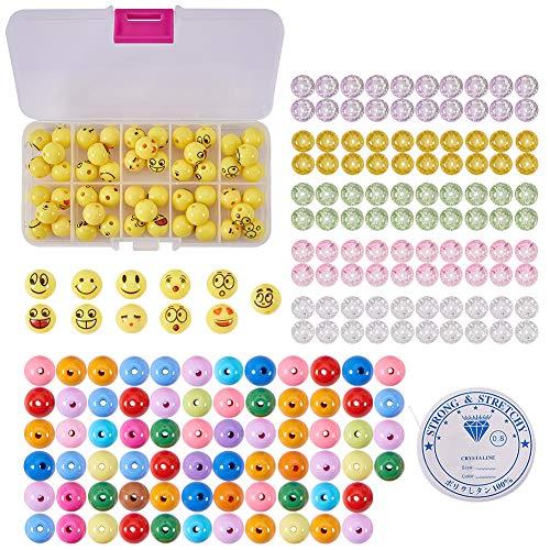 SUNNYCLUE 1 Set 221pcs DIY 7Set Emoji Smile Bracelet 12mm Emoticon Face Ball Beads Bracelet Craft Kit for DIY Jewelry Making