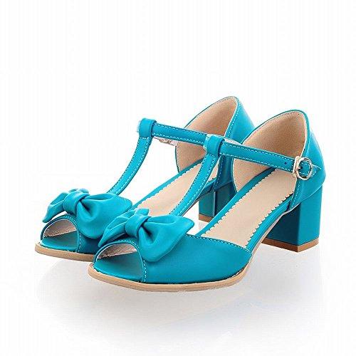 Latasa Women's Cute Bow T-strap Peep-toe Middle Chunky Heel Pumps, Sandals (10, blue)