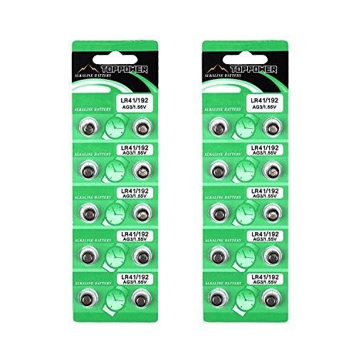 TOPPOWER Alkaline Button Cell Battery 1.55V LR41 / 192 / AG3 2-Pack