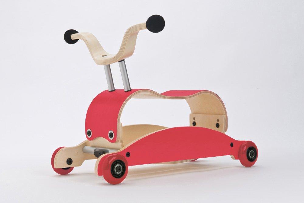 Unbekannt Wishbone Mini FLIP Mix & Match 3in1 - Laufwagen + Rutschauto + Schaukel in Farbe  Top rot+ Base rot + Räder rot
