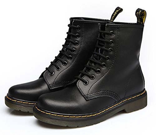 Booties Combat Modemoven up Toe Women's Black Leather Round Fashion Ankle Martens Boots Boots Lase Ladies AzwHvAq
