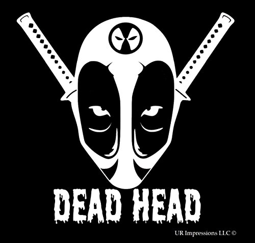 UR Impressions Deadpool Dead Head Decal Vinyl Sticker Graphics for Cars Trucks SUV Vans Walls Windows Laptop|White|5.5 X 5.4 Inch|URI356