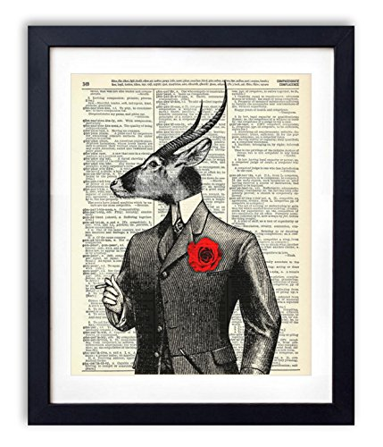 Gentleman Waterbuck Upcycled Vintage Dictionary Art Print 8x10 by Vintage Book Art Co.