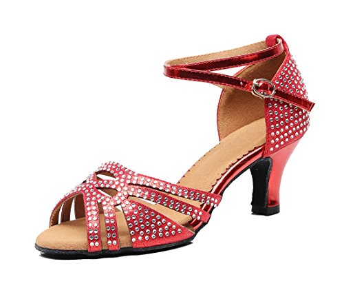 MGM Ankle Toe Women's Joymod Red Peep Wedding Heel Sandals Dance Evening Synthetic Crystals Samba Salsa Studded Party Tango 6cm Shoes Wrap Rumba 0qw0nrfE