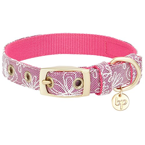 Blueberry Pet 2019 New 4 Colors Glam Life Lace Floral Stamping Dog Collar in Iconic Pink, Neck 9-12.5