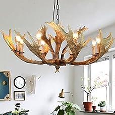 EFFORTINC Antlers vintage Style resin 8 light chandeliers, American rural countryside antler chandeliers,Living room,Bar,Cafe, Dining room deer horn chandeliers