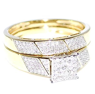 amazoncom his her wedding rings set trio men women 10k yellow gold jewelry - Amazon Wedding Rings