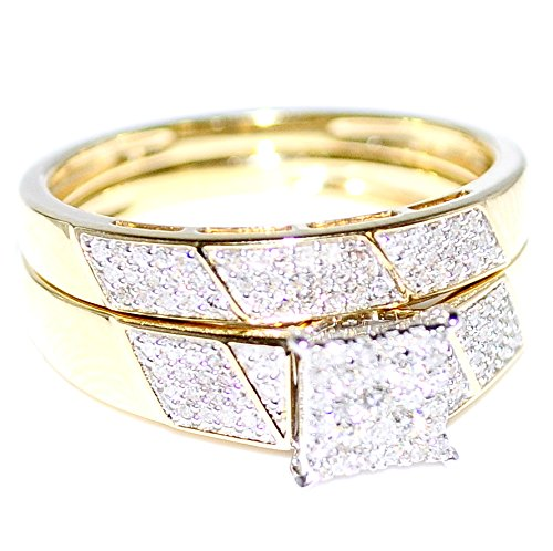 amazoncom his her wedding rings set trio men women 10k yellow gold jewelry - Trio Wedding Ring Sets