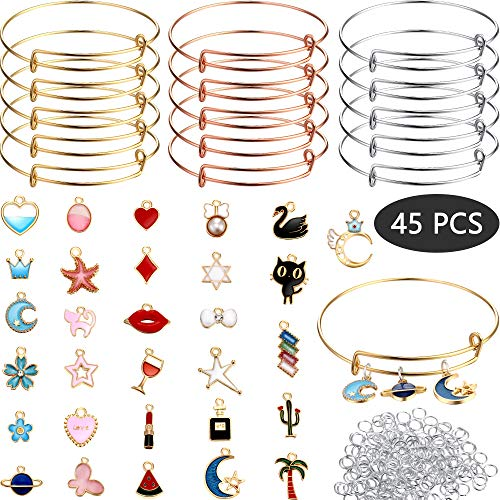 DIY Christmas Gold Charm Pendant Assorted with Expandable Bangle Adjustable Wire Bracelets for DIY Craft Jewelry Making, Extra 200 Pack Open Ring (245 Pieces, Style A) (Wire Bracelet Charms)