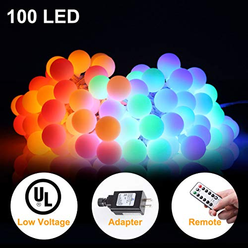 (ALOVECO 33ft 100 LED Globe String Lights, 8 Dimmable Lighting Modes with Remote & Timer, UL Listed 29V Low voltage Waterproof Decorative Lights for Bedroom, Patio, Garden, Party(Multi Color))