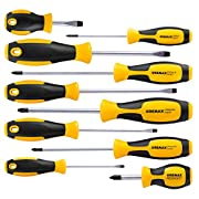 #LightningDeal Magnetic Screwdriver Set 10 PCS, CREMAX Professional Cushion Grip 5 Phillips and 5 Flat Head Tips Screwdriver Non-Slip for Repair Home Improvement Craft