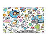 Interestlee Fleece Throw Blanket Outer Space Decor Cute Deep Space Astronaut Girl Boy Aliens Rockets on Moon Kids Nursery Theme Multi