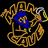 iecool The Man Cave Neon Sign 18''x18'' Real Glass Bright Neon Light for Store Beer Bar Pub Garage Room