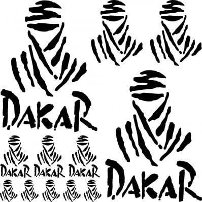 Adhesivo Pegatina ,Sticker texto y logo varias dimensiones ,,Kit Adesivo dakar ,, (NEGRO)