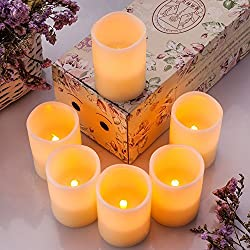 Flameless Candles, Flickering, Real Wax, Realistic Decor Unscented,10 Function Remote - 6 Pack, Yellow Light - Enamorarse