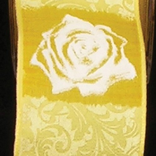 Yellow Rose Print Taffeta Wired Craft Ribbon 1.5