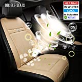 Fochutech Car Seat Warmer, 12V Heated Seat Cushion, Heated Car Seat Covers, Universal Car Seat Heater Heating Pads, 3 in 1 Cooling and Heating Pad Massager for Car Home Office (Two-seated, Beige)