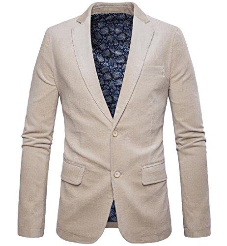 SYTX Mens Vintage 2 Buttons Solid Color Corduroy Blazer Suit Jacket Coat Outerwear Beige S