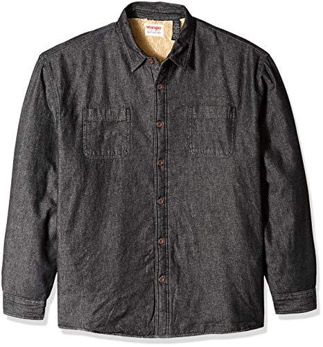 Wrangler Authentics Men's Long Sleeve Sherpa Lined Denim Shirt Jacket, Black, 2XL