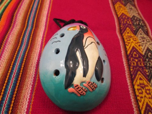 Ocarina Clay Whistle Flute- Penguin Design  Handpainted From Peru - Item in USA