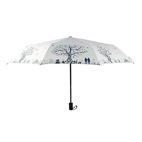 TtKj Paraguas Plegable Pequeño Paraguas de plástico Manual ...