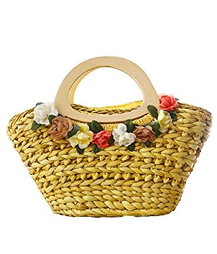 Flower Orange Mogor Handles Bag Natural Straw Wood Husk Retro Corn with Bag Decoration SqqH5