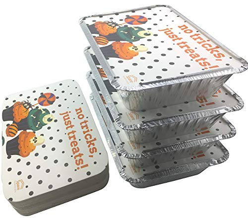 (45 Pack - 2.25 LB Aluminum Food Containers with Lids -Printed- Halloween Cards I Trick or Treat Lids I Disposable Aluminum Pans I Foil Food Trays From Spare 2.25Lb Capacity)