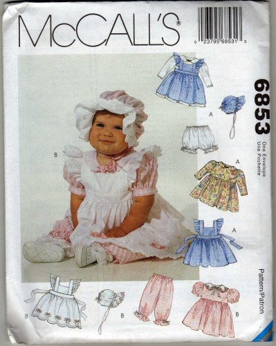 - McCall's 6853 Sewing Pattern Infants Pinafore Dress Panties Pantaloons Bonnet Size Small - X-Large