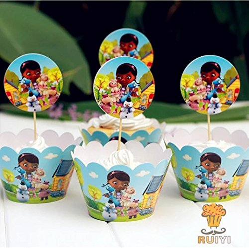 China 12 set Doc Mcstuffins cupcake toppers and wrappers,...