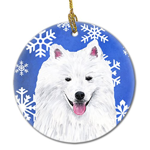 - Caroline's Treasures SC9379-CO1 American Eskimo Winter Snowflakes Holiday Ceramic Ornament SC9379, 3 in, Multicolor