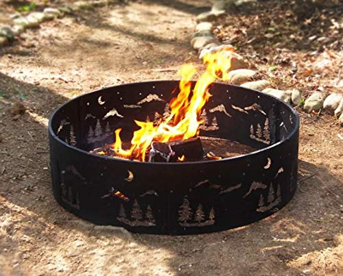 Etho- Black Steel Round Ring Wilderness Cut-Out Design-Firepit Table for Outside-Firepits for Outside Wood Burning-Cozy Fire Ambience for Nights Spent at Your Patio