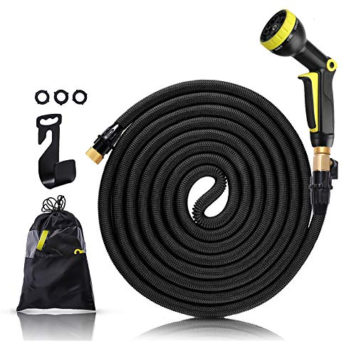 Brightsv Garden Hose 50ft, Upgrade Expandable Hose Garden, Flexible Hose Lightweight, Sturdy Leakproof Watering Hose with 9 Pattern Sprayer Nozzle for Plant and Garden Watering(Black)